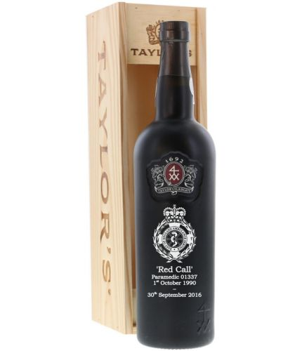 This is a hand engraved bottle of Taylor's 10 year old Tawny port with its own wooden box. We sort out all your engraving, including sending you a pre-production proof after you order.