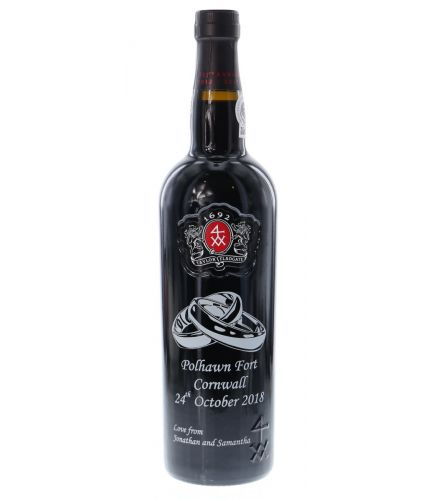 An engraved bottle of Taylors Fine Ruby Port. We include the design, setup pre-approval and engraving service as part of this product. Taylors port makes an excellent gift idea for weddings, christenings, anniversaries, at Christmas and for a birthday