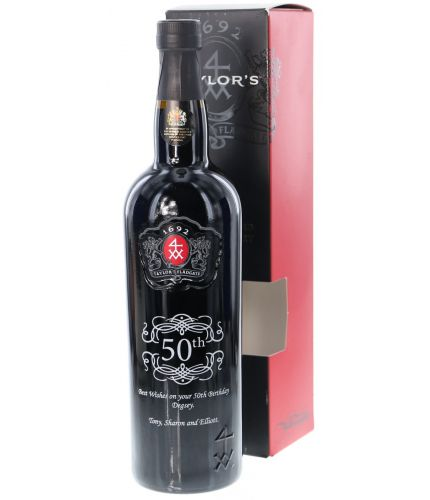 An engraved bottle of Taylors Late Bottled Vintage Port. The design and engraving service is included and we'll send you a draft design for approval before commencing engraving.