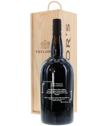 This is a hand engraved Magnum (150cl) bottle of Taylors Late Bottled Vintage Port. We sort out all your engraving, including sending you a pre-production proof after you order. Once we've agreed the engraving design you should receive the bottle in 3 -4