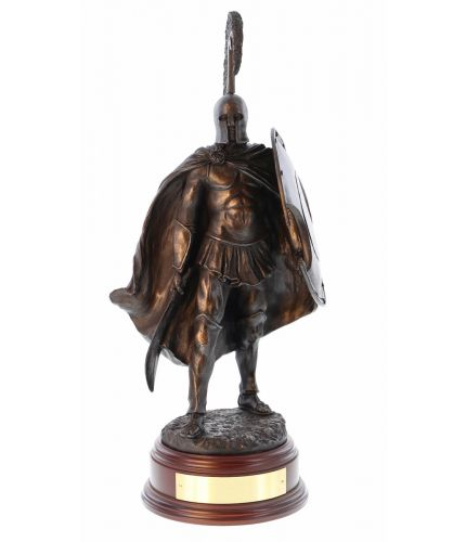 "12"" Scale Cold Cast Bronze Sculpture of a Thespian Hoplite Circa 480BC at the Battle of Thermopylae. We include the wooden base and an engraved brass plate, (if required)."