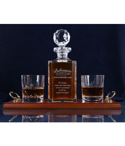 Hand engraved panel cut whisky decanter and tumbler tray set with gift boxes.