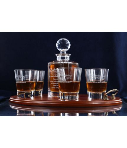 A fully engraved 7 piece crystal whisky serving tray set. The set is fully gift boxed and we include set up and design as part of our service. The tray can include an engraved brass plate on the wooden tray if required.