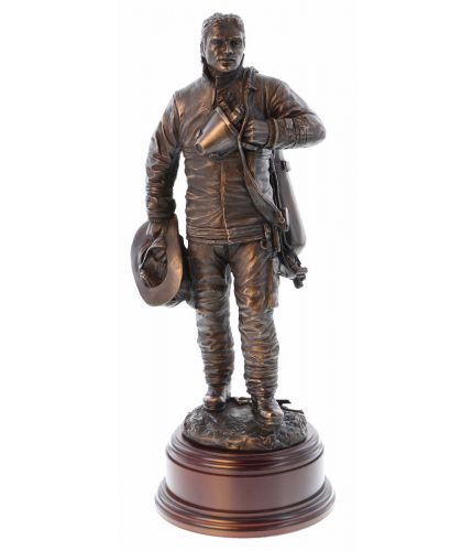 A handmade bronze cold cast resin statue of a US Firefighter standing down after a fire call. Includes a personalized engraved brass plate. The perfect gift for any Retiring crewman. We include the wooden base and an engraved brass plate with every order.