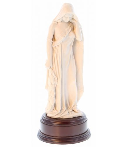 "This is a faithful replica of the 'Mother of Canada' memorial that is a feature from the Canadian Vimy Ridge World War 1 Memorial. This is the Ivory finish version and she stands 12"" tall on this wooden base and we offer a free engraved base plate."