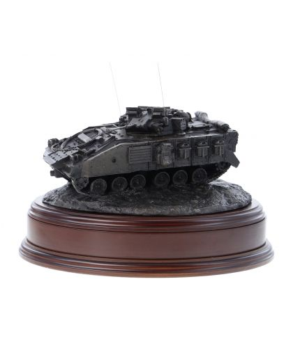 British Army Warrior Infantry Armoured Fighting Vehicle, Desertised, Bronze. The sculpture is mounted on a wooden base which is designed to take a cap badge and engraved plate. It makes an ideal military farewell gift or commemorative piece.