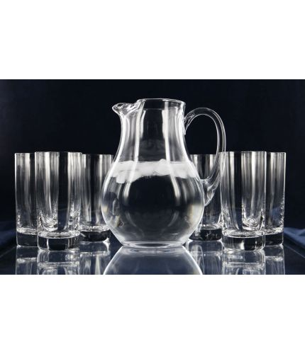 Set of Six Highball Tumbers and a Water Jug, Engraved