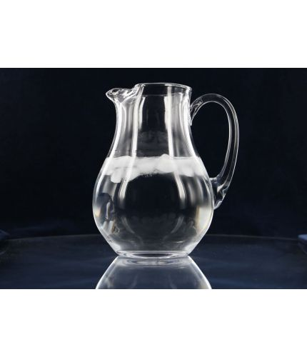 Large Glass Water Jug Engraved