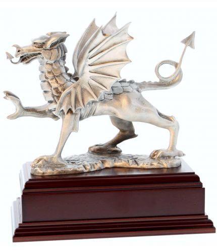 Classic Welsh Dragon in Buffed Pewter