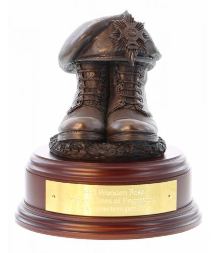 Ulster Defence Regiment Boots and Beret, cast in cold resin bronze and mounted on a wooden base. Includes a personalised brass engraved plate if required.