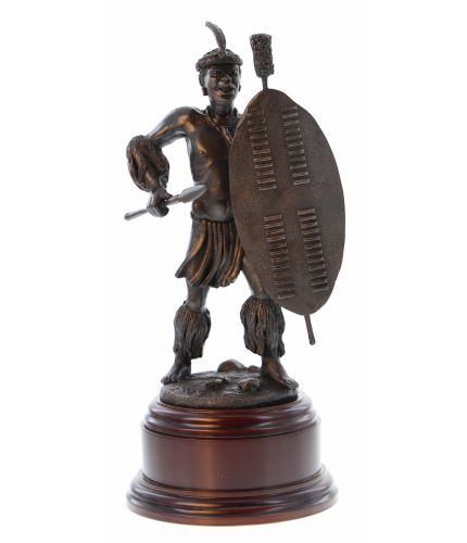 An Zulu warrior from around the time of the battle of Rorke's Drift in Zululand and this is the Cold Cast Bronze finish. We offer and engraved brass plate if required